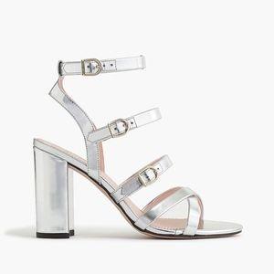 JCREW Buckled high-heel sandals in mirror metallic